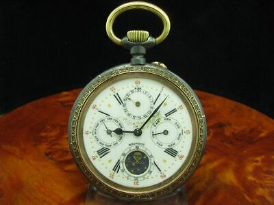 £1301.23 • Buy Large Iron Open Face Pocket Watch Complete Calendar Moon Phase/Diameter 67,0 MM