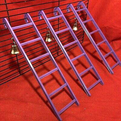 3 Hamster Ladder Bell Plastic 9  Purple Interactive Cage Boredom Exerciser Mouse • 9.99£
