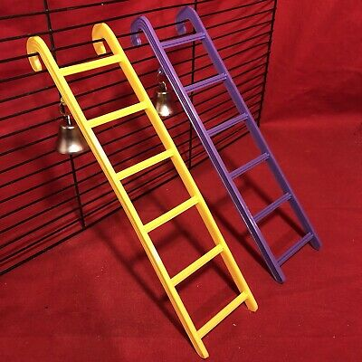 2 Hamster Ladder & Bell Plastic 9  Mix Interactive Cage Boredom Exerciser Mouse • 6.99£
