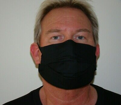 4 Ply Breathable Black Cotton Face Mask. Flu/pollution/dust. Washable. Uk. • 6£