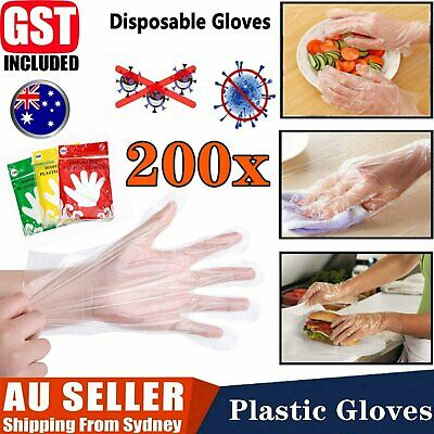 AU7.88 • Buy 200pcs Disposable Plastic Gloves Transparent Food Handling Hygienic Catering AU