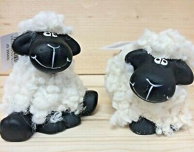 £7.99 • Buy Black Faced Sheep Woolly Ornaments Ceramic Based Set Of 2 Different Boxed 295400