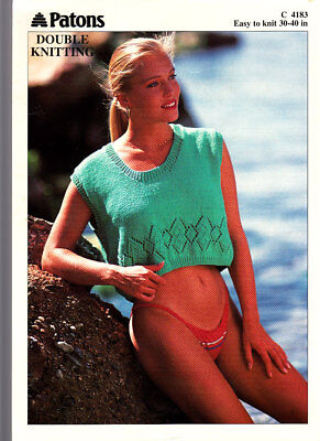 Patons Knitting Pattern, Ladies Cropped Top, 4183, 30-40in • 1.50£