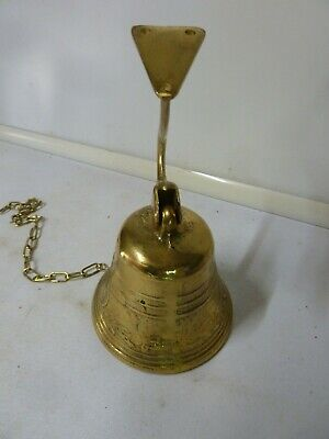 Antique Vintage Brass Church Alter Bell Pull Chain Wall Mount School Pub Ship • 39.99£