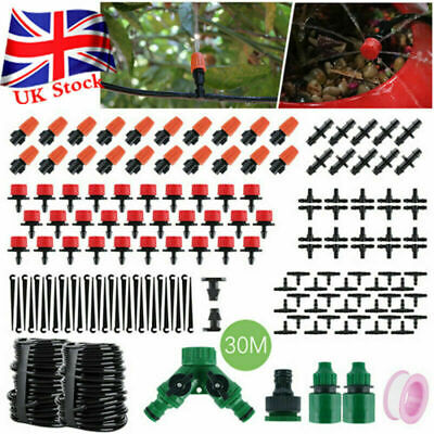 30M Micro Drip Irrigation System Set Automatic Watering Garden Hose Watering UK • 18.99£