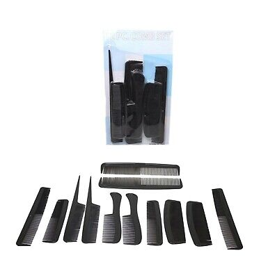 £2.85 • Buy 12 X PACK MENS BLACK HAIR STYLE ASSORTED COMBS SALON BARBER SET