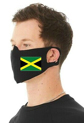 Jamaican Flag Unisex 4 Ply Cotton Jersey Face Covering/Masks. Washable Comfy Fit • 9.99£
