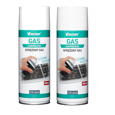 2x 400ml Air Duster Spray Gas Cleaner 800ml Compressed Dust Blower Easy Clean UK • 7.06£