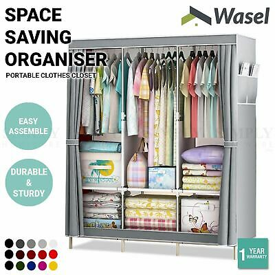 AU29.99 • Buy Wasel Portable Clothes Closet Large Wardrobe Storage Organiser Shelf Cabinet