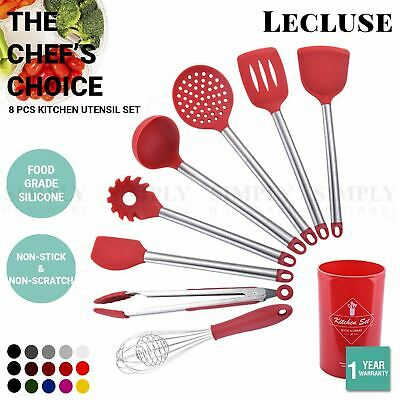 AU39.90 • Buy Lecluse Kitchen Utensil Set Silicone Non-Stick Cooking Stainless Steel 8Pcs