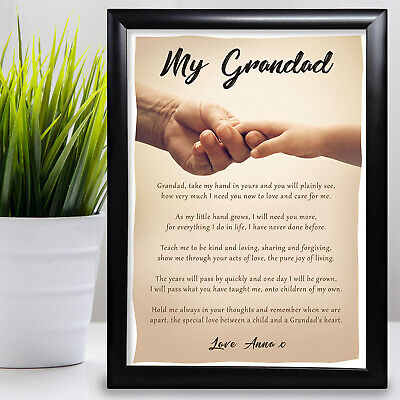 Gift For Grandad Birthday Gift Poem From Grandaughter Fathers Day Card • 4.99£