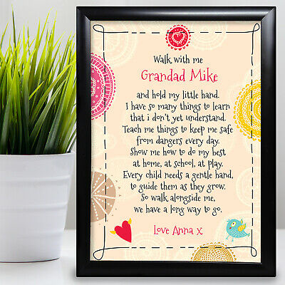 £6.29 • Buy Gift For Grandad Birthday Card Framed Grandaughter Walk With Me Fathers Day