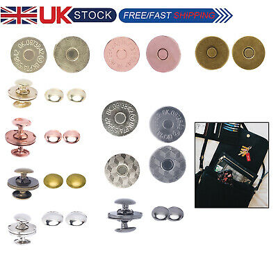 14/18mm Double Rivet Round Magnetic Clasps Snap Fasteners For Handbags Crafting • 2.85£