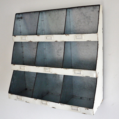 Industrial Vintage Style Cupboard Cabinet 9 Pigeon Hole Wall Storage Metal Shelf • 64.99£