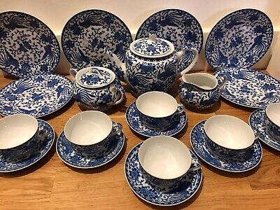 Noritake Howo Phoenix Porcelain Blue & White Oriental Japanese 21 Piece Tea Set • 44.99£