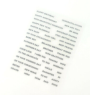 44 Sentiment/occasions Words Clear Stamps-birthday/get Well/baby/mothers Day-dad • 5.50£