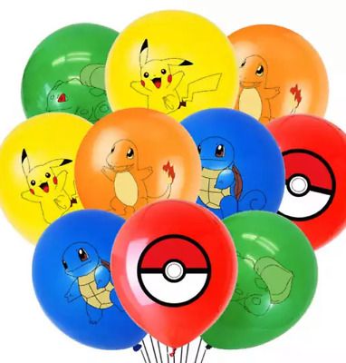 """12"""" Pokemon Balloons For Sticker Loot Bags Supplies Birthday Party Cartoon Kids • 3.99£"""