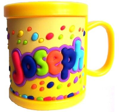 Boys Childrens 3D Personalised Name Plastic Cup/Mug New JOSEPH • 2.99£