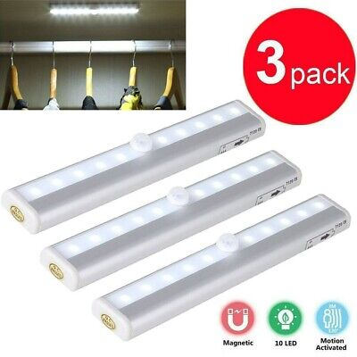 $17.49 • Buy 3 Pack 10 LED Motion Sensor Closet Light Night Cabinet Battery Powered Strip USA