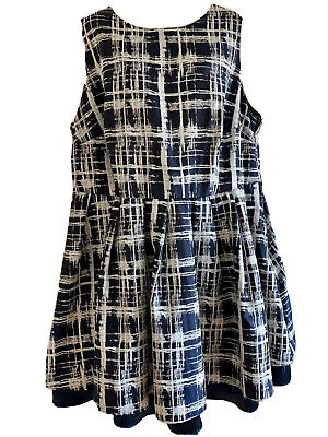AU30 • Buy ASOS Curve Size 20 Navy Blue And White Abstract Check Cocktail Corporate Dress
