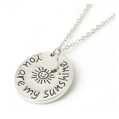 You Are My Sunshine Girls/Ladies Necklace. Circle & Heart Pendant 20In Gift • 3.99£