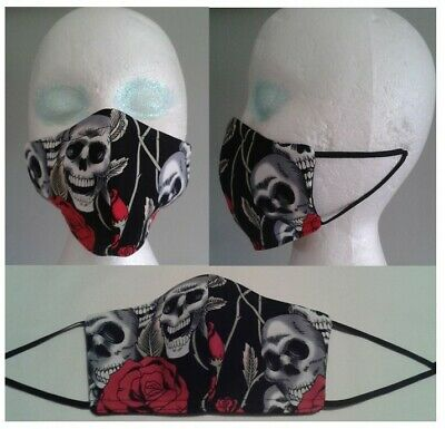 Face Mask Covering Skulls  And Roses Mens Womens Goth Covering Uk Made (jh29)  • 5.25£