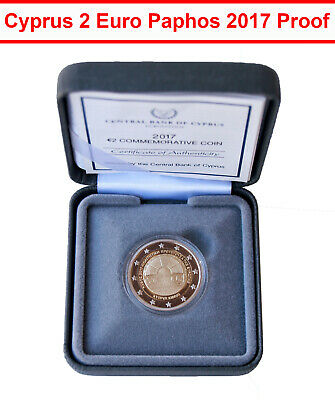 $ CDN43.49 • Buy 00377 Cyprus Coin 2 Euro Paphos 2017 Proof Commemorative Bimetallic CoA + Box