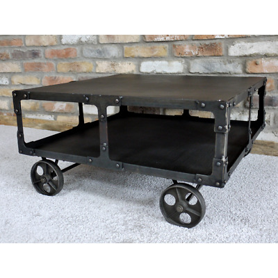 £159.99 • Buy Industrial Style Coffee Table On Wheels Stunning Factory Two Tier Coffee Table