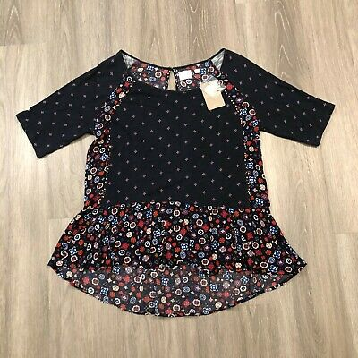 $ CDN52.71 • Buy 9-H15 STCL Anthropologie Womens Large Navy Floral S/S Top Cotton Rayon NWT