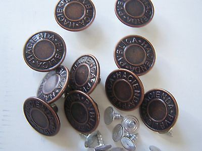 JEANS/DENIM BUTTONS 14/17/19mm Easy Fit Various Colours Packs Of 10-free P/p • 2.25£