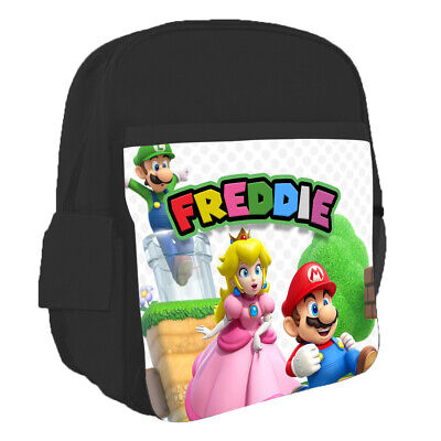 Personalised Kids Backpack Any Name Super Mario Design Children School Bag 11 • 16.99£