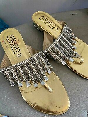 Indian Pakistani Asian Gold And Silver Diamond Shoes Size 5 • 7£
