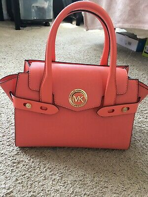 AU343.23 • Buy NWTS Michael Kors Carmen Small Flap Belted Leather Pink Grapefruit/Gold Satchel