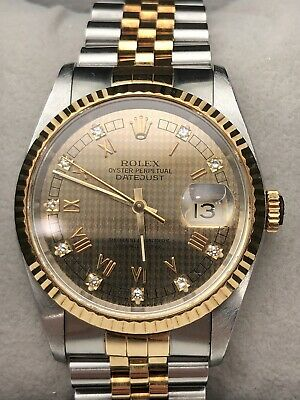 AU10999 • Buy Rolex Datejust 16233 Champagne Houndstooth Dial 36mm 18k Jubilee Automatic Watch
