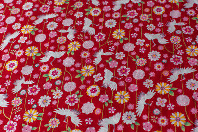 £3.99 • Buy Japanese 100% Cotton Fabric FQ - Cranes And Vines, Red