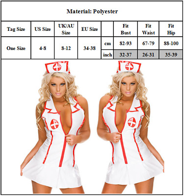 Sexy Nurse Costume, Hen Outfit Role Play, Fancy Dress Size M • 8.99£