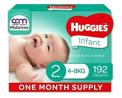 AU65 • Buy Huggies Ultimate Nappies, Unisex, Size 2 Infant (4-8kg), 192 Count, One-Month