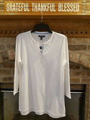 $20.40 • Buy Chaps By Ralph Lauren Sz. Large White Henley 3/4 Sleeve Top NWT