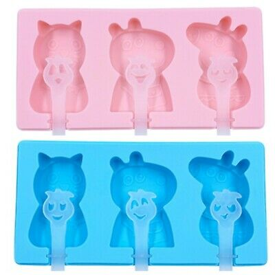Peppa Pig Silicone Popsicle Mold Ice Cream Maker With 6pcs Sticks Pink Or Blue  • 6£