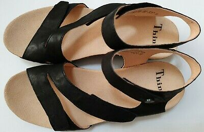 £69.99 • Buy Think! Dumia Black Womens Leather Open Wedge Ankle Strap Sandals (Size UK 6.5)