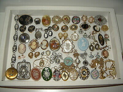 $ CDN199.99 • Buy 50+ Vintage Gold/Silver CAMEO Necklaces-Earrings-Brooches-Pendants-Pins- Lot