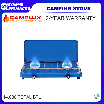 AU59 • Buy CAMPLUX Camping Stove 2 Burner Gas Portable Propane BBQ Stove Cooker