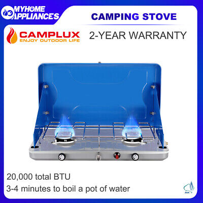 AU79 • Buy CAMPLUX Portable Camping Stove 2 Burner Gas Propane BBQ Stove Cooker