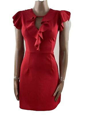 WAL G Red Frill Neck Wiggle Short Bodycon Dress UK 10 • 10£