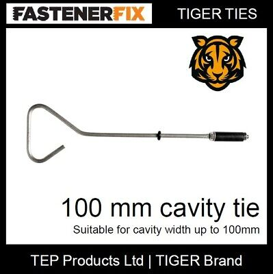 100 Mm Cavity Wall Ties, A2 Stainless Steel, Tiger Fixings, 10 Pack • 15£