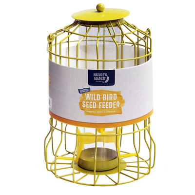 Squirrel Proof Yellow Colour Metal Wild Bird Seed Feeder Hanging Garden Tray • 11.49£
