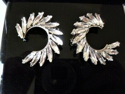 Signed YSL Crystal Navettes Statement Clip Earrings 3.5cm • 80.73£