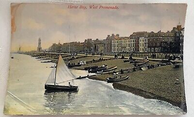 Old Postcard - West Promenade, Herne Bay, Kent • 1.99£