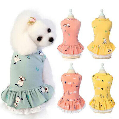 Summer Puppy Dog Cat Dresses For Yorkies Chihuahua Pet Clothing Cotton Clothes • 3.40£