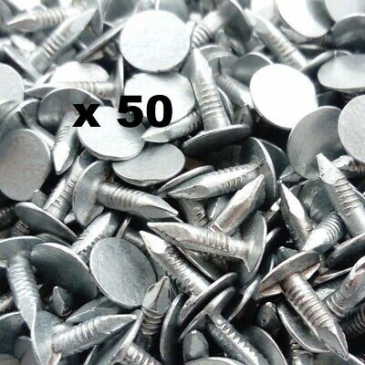 50 X GALVANISED CLOUT NAILS XL HEADS, SHED FELT • 2.99£